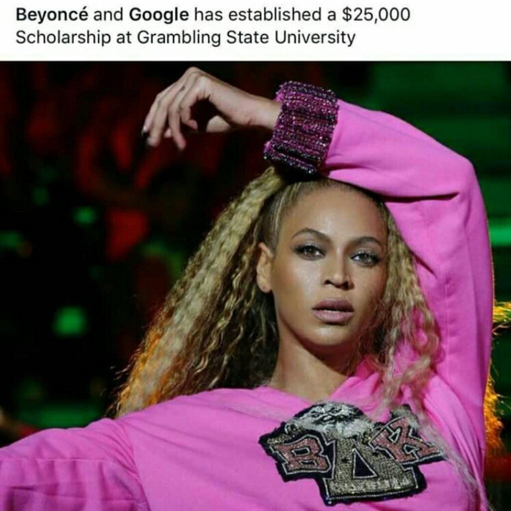 Thank you @Beyonce and @Google for adding @Grambling1901 to the 2018-2019 #HBCU Homecoming Scholarship Program! #GramFam #Beyonce #scholarships We appreciate your support! <br>http://pic.twitter.com/Ov3dQvQknR