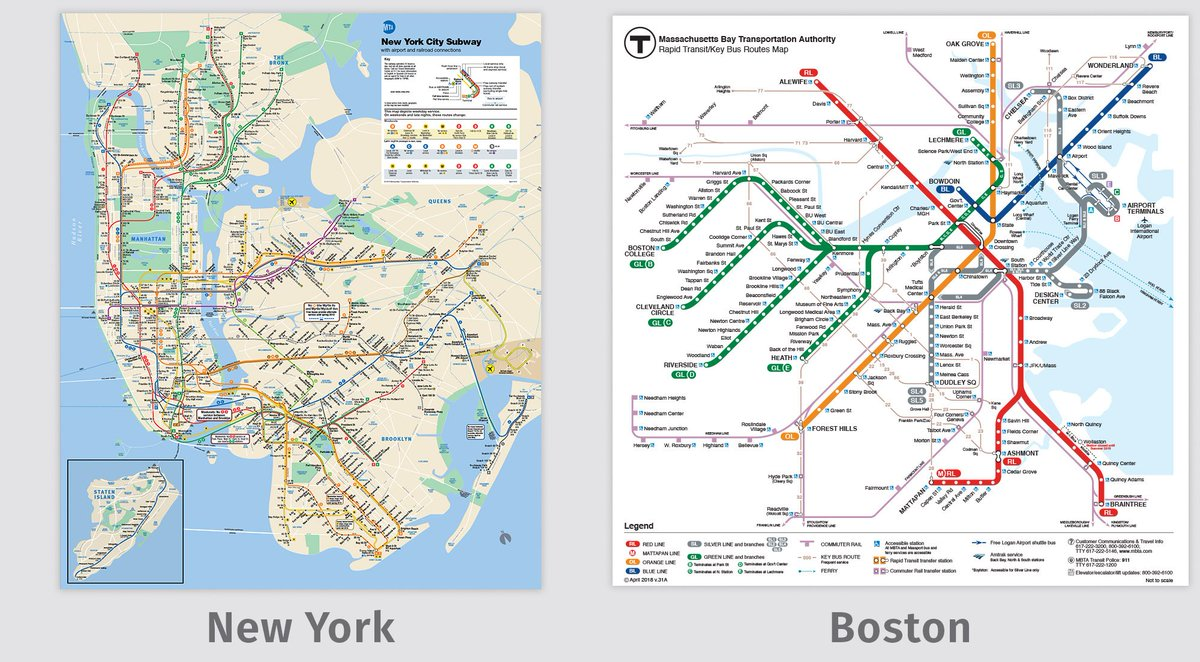 boston vs new york map Transit Maps On Twitter Comparison Image And Links To Full Maps boston vs new york map