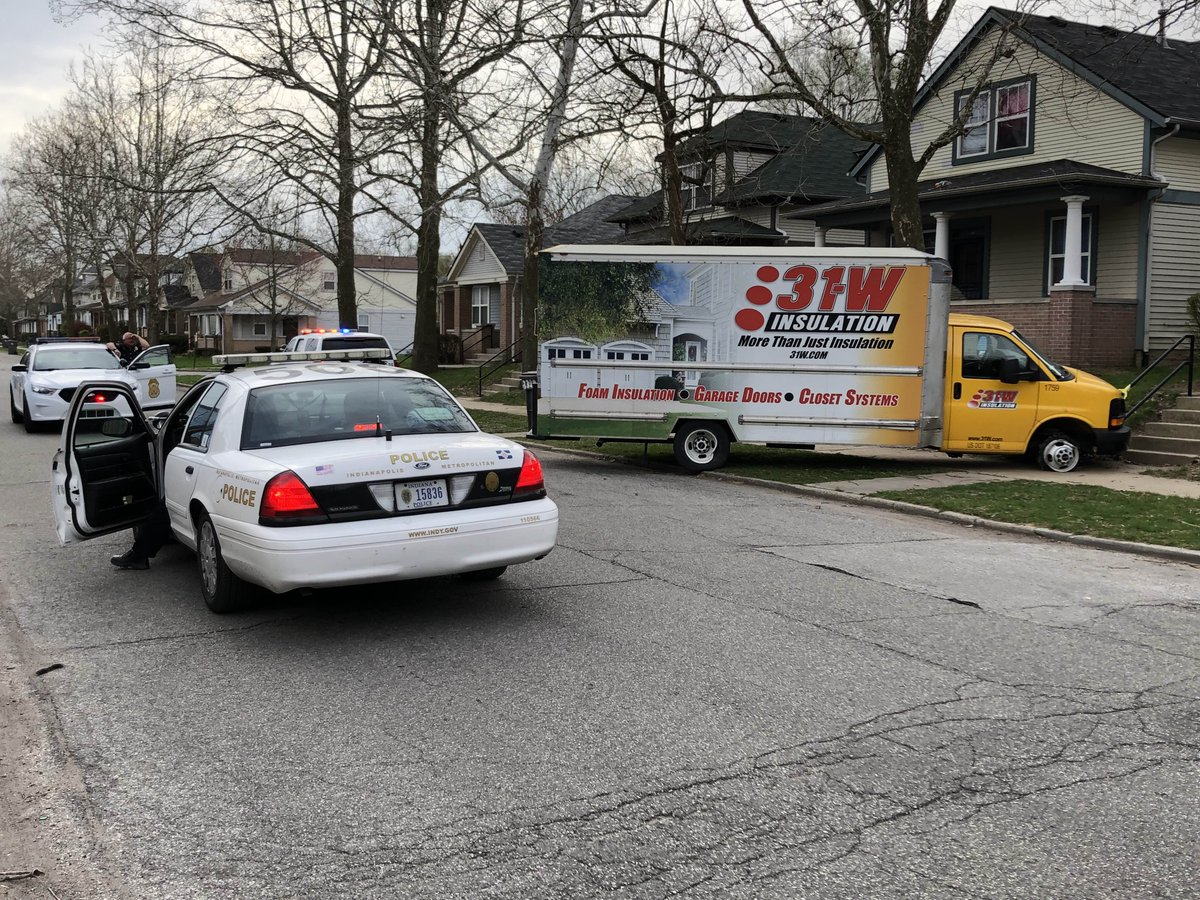 POLICE ACTIVITY: Multiple units are in a quiet neighborhood just NE of Concord &amp; Michigan on Indy's NW side. No official word what happened, but there's one person in cuffs &amp; a box truck with a blown tire nearby. #NewsTracker #Daybreak8 <br>http://pic.twitter.com/BFtpiuAHlw