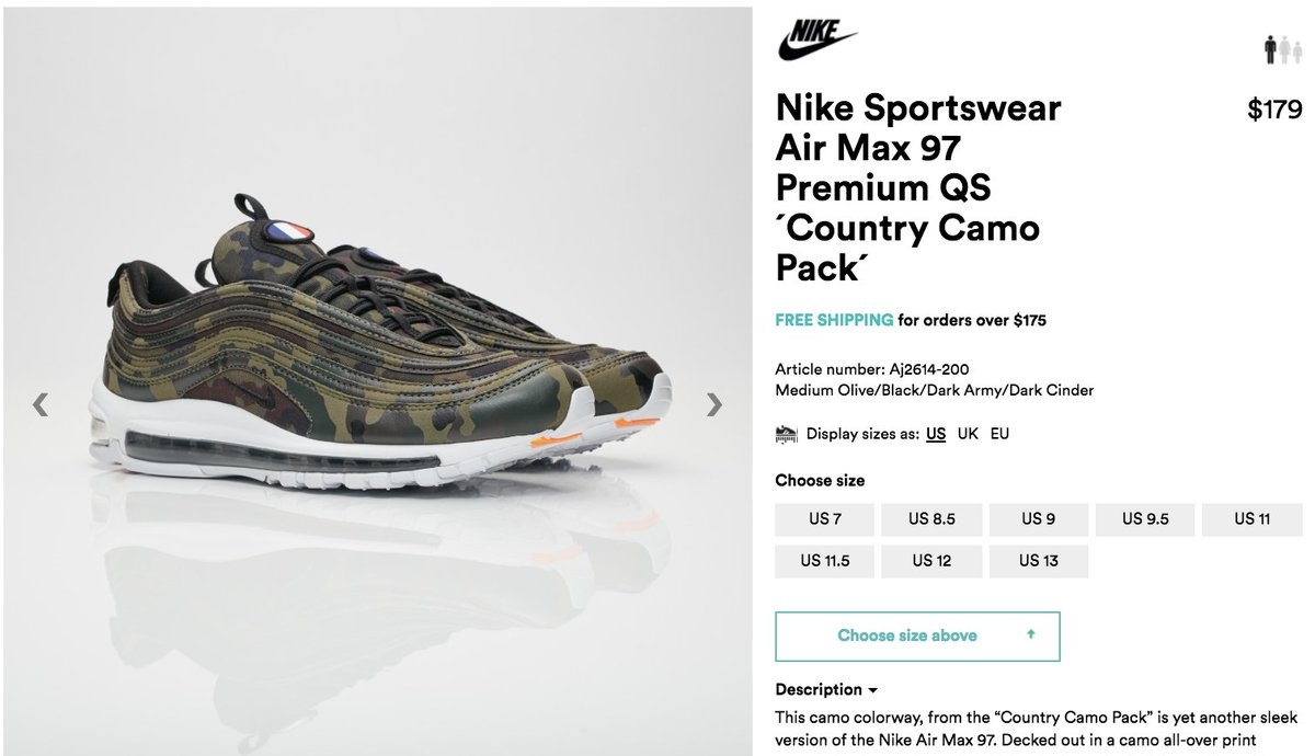 c402e22c8dd #RESTOCK Nike Air Max 97 Country Camo 'France' => http://bit.ly/2CD62ON =>  http://bit.ly/2CD62ON use code SNEAKERS via @geejmasterflexpic.twitter.com/  ...