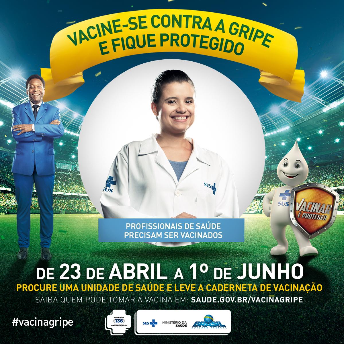 Profissional de saúde, com você a campanha de vacinação é mais forte. Vacine-se e fique protegido. #vacinagripe