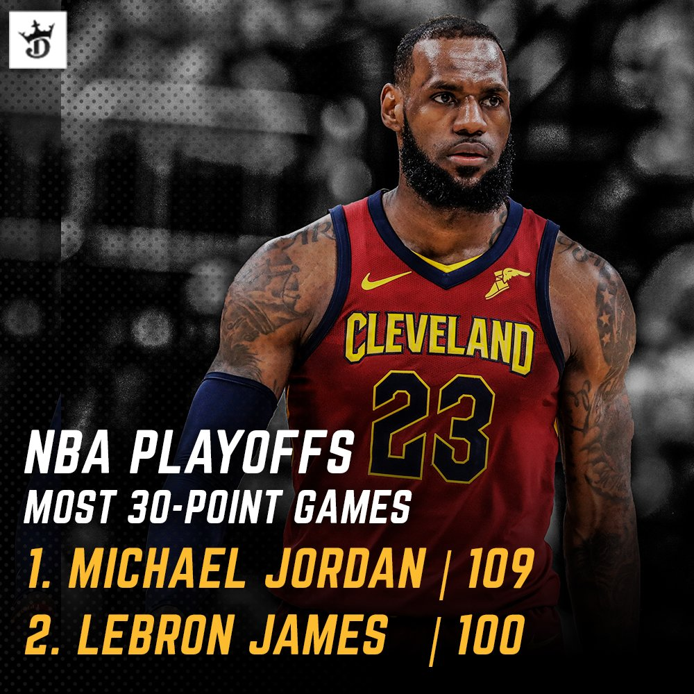 More #NBA postseason history for @KingJames.  Only two players have 100 playoff games with 30-points. Let the 🐐 debate rage on...