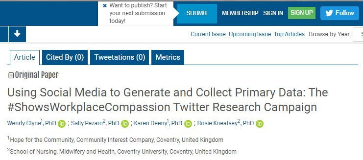 What do healthcare staff think #ShowsWorkplaceCompassion? Find out via my latest study with Dr.Wendy Clyne, @karendeeny1 &amp; @Rosiekneafsey  http:// publichealth.jmir.org/2018/2/e41/  &nbsp;   @CU_HLS @CovUniLecturers @CovUniResearch ... #workforce #research funded by @NHSEngland. #staffwellbeing #NHS RT<br>http://pic.twitter.com/HZ6ku34K4Y