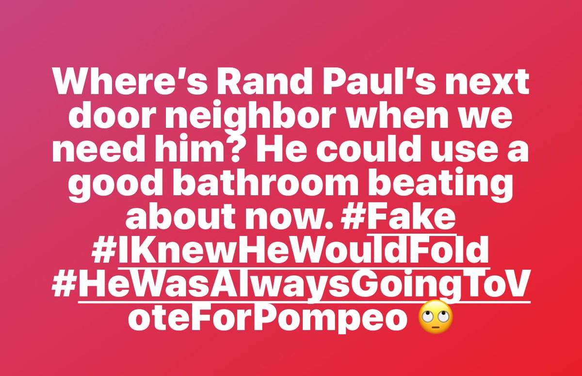 Such a shock Rand! Am I smarter than those in the media? I knew he would cave @MSNBCPR @MSNBC @RandPaul @NBCPolitics @NBCPR @CNNPR @CNNPolitics @ABCPolitics @CBSPolitics  They need to hire me?? #Fake <br>http://pic.twitter.com/04LaKpqoFx