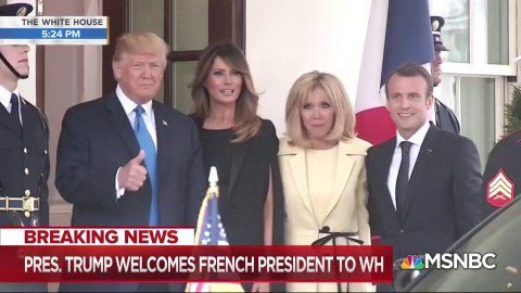 WATCH: President Trump and the First Lady welcomes France's President Macron and his wife to the White House https://t.co/rmVcMiHPoA