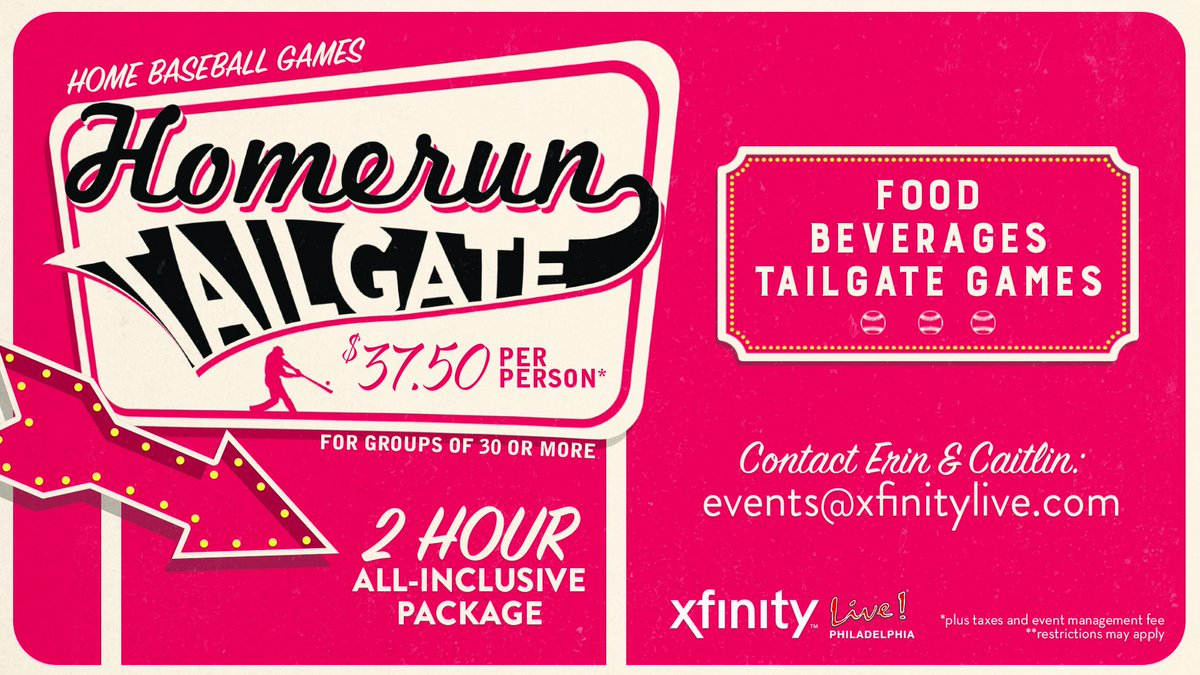 Our Homerun Tailgate package is everything you want on game day! A 2-hr all-inclusive food & drink package, tailgate games and more! Contact Erin & Caitlin at events@xfinitylive.com to book yours! ⚾