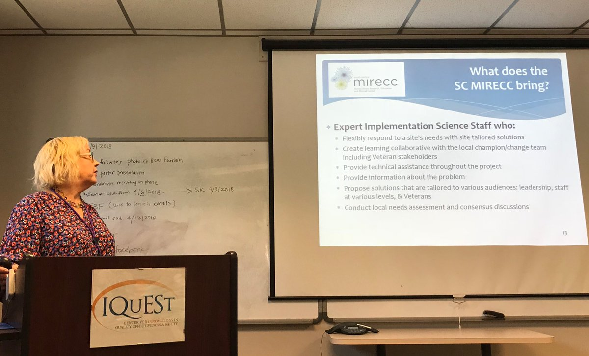 Dr. Tracey Smith @traceyleone developed innovative solutions for improving patient #FLOW to increase access to mental health treatment for #Veterans @IQuEStHouston research rounds @vahsrd @VAHouston @DeptVetAffairs @bcmhouston<br>http://pic.twitter.com/Fe9mL02J55