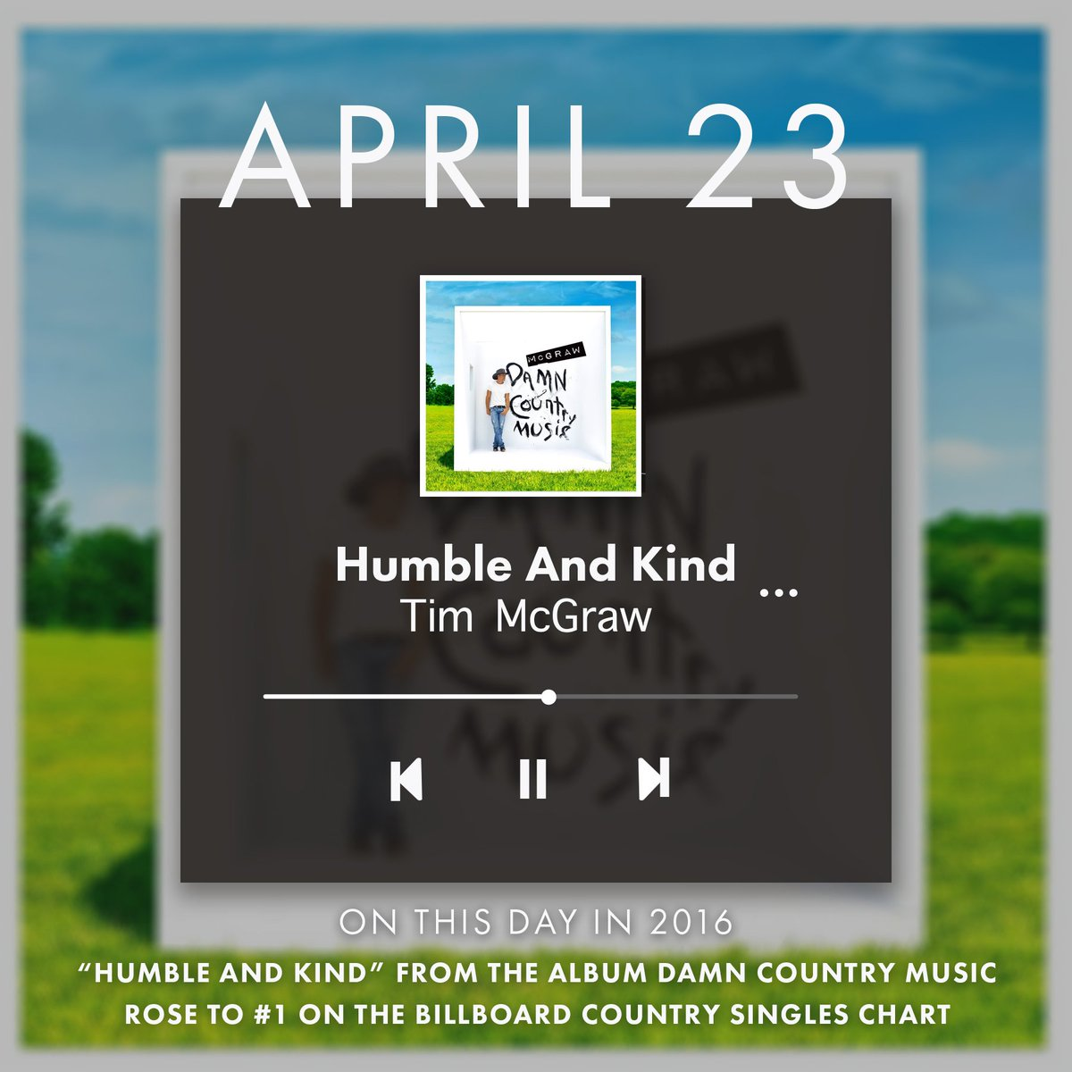 On this day two years ago, 'Humble and Kind' hit number one on the @billboard country singles chart. Listen now: https://t.co/aVoX7sGRv0 #HumbleandKind #TeamMcGraw