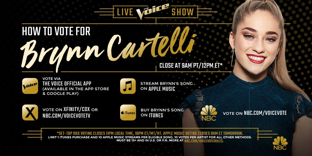 RETWEET if you think @BrynnCartelli is THE VOICE! #VoiceFinale