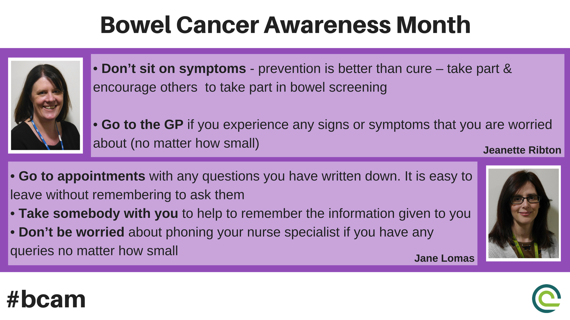 Clatterbridgecc Nhs On Twitter Prevention Is Better Than Cure Colorectal Oncology Nurse Consultants Jeanette Ribton Jane Lomas Provide Some Important Advice And Guidance This Bowel Cancer Awareness Month Bcam Bowelcancer