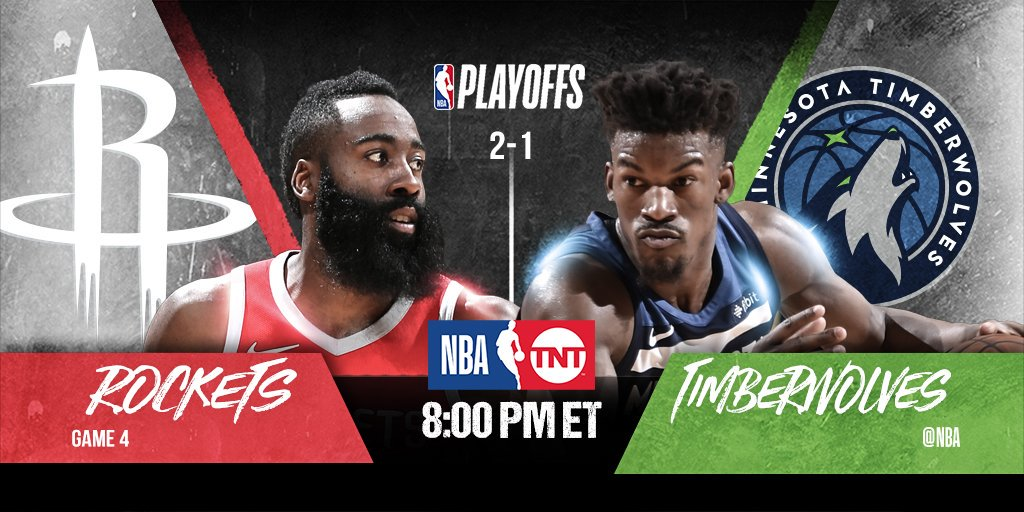The @HoustonRockets seek commanding 3-1 lead, while the @Timberwolves look to even the series 2-2....  🏀: #Rockets x #AllEyesNorth Game 4 ⏰: 8:00pm/et 📺: @NBAonTNT