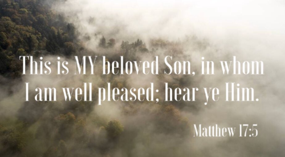 Matthew 17:5 KJV While he yet spake, behold, a bright cloud overshadowed them: and behold a voice out of the cloud, which said, This is my beloved Son, in whom I am well pleased; hear ye him.    #JesusIsTheSonOfGod  #MondayMorning <br>http://pic.twitter.com/u3okdNj4r7