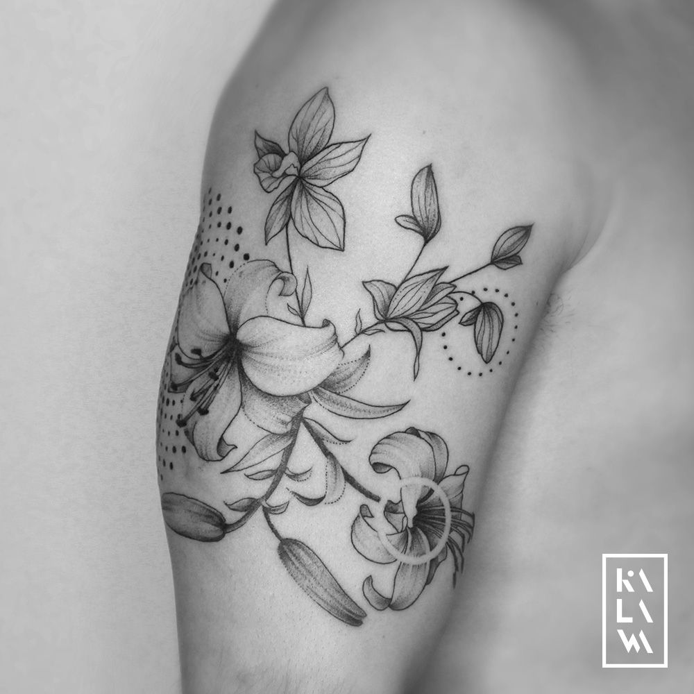 Kalawa Tattooer On Twitter New Lilyflower And Orchid Composition