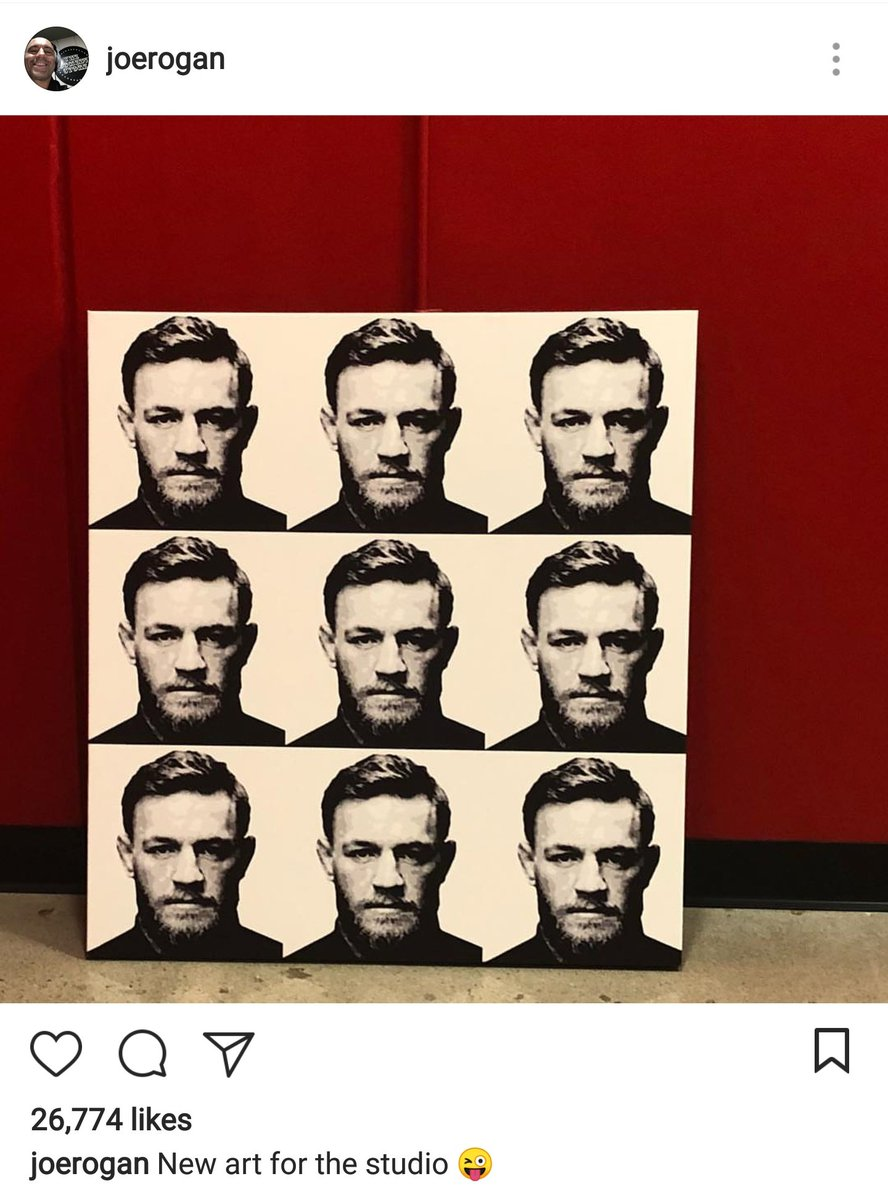 Conor McGregors mug shot is now the latest piece of art to make it into Joe Rogans studio. instagram.com/p/Bh7GbfNn_n3/