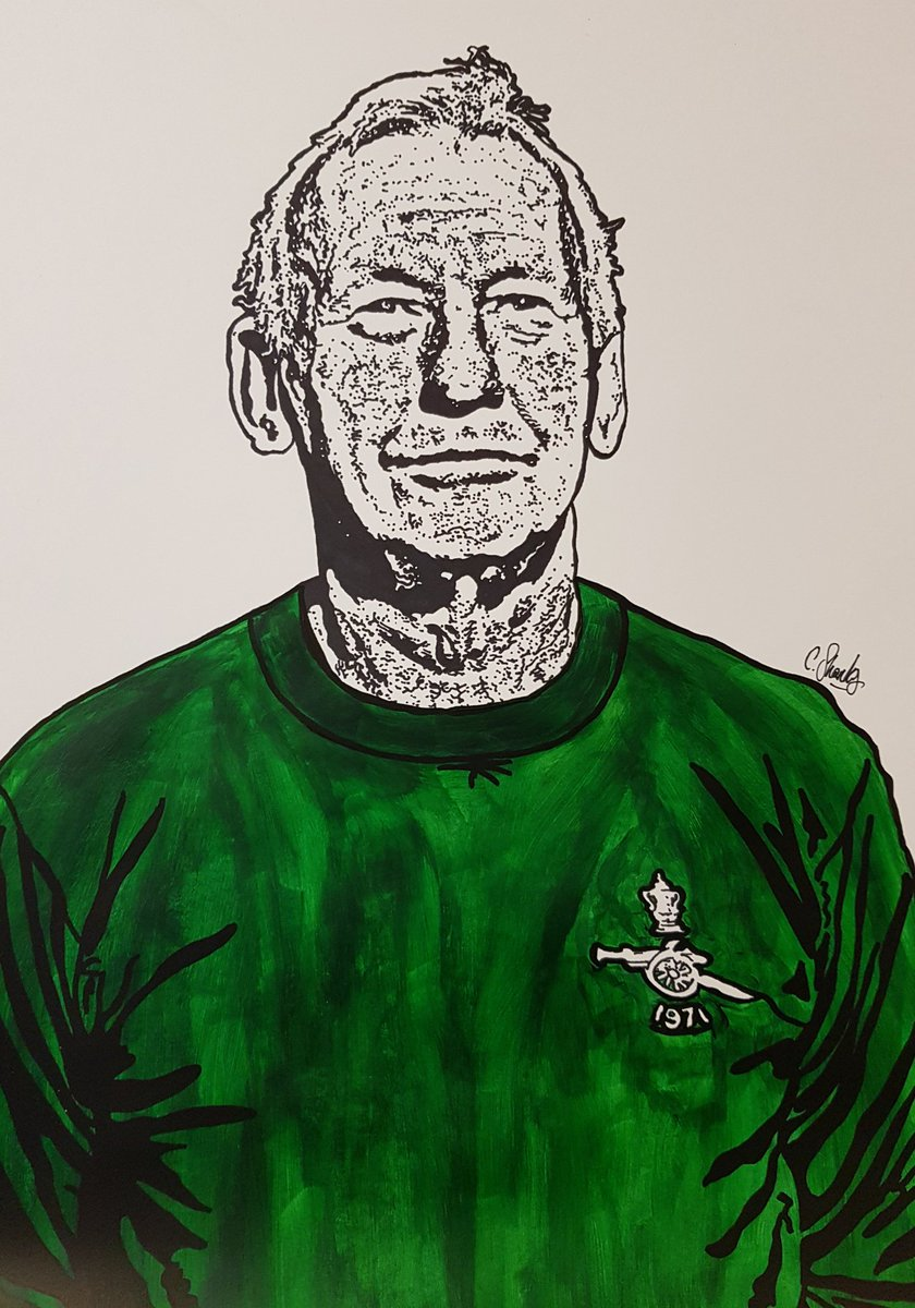 Bob Wilson drawn on A3 paper. Completed with @Sharpie pens and acrylic paint. Absolute Legend of the game and of course of his/our beloved @Arsenal 🔴⚪ Hope you like it @BobWilsonBWSC 👌🏻⚽️🔴⚪
