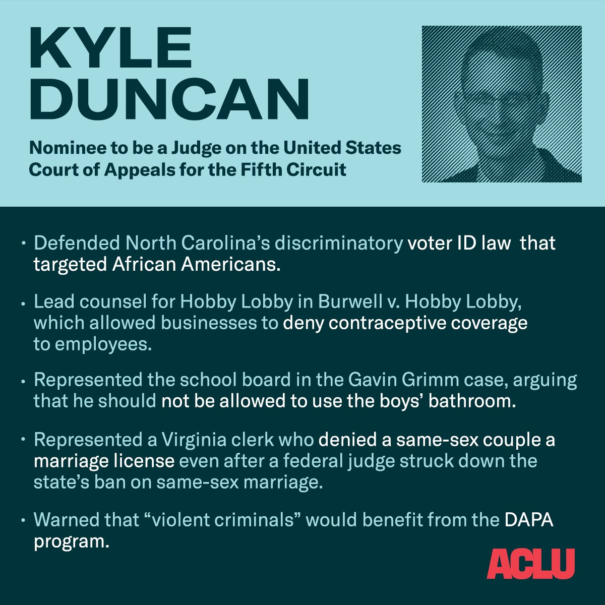 ACLU's photo on Kyle Duncan