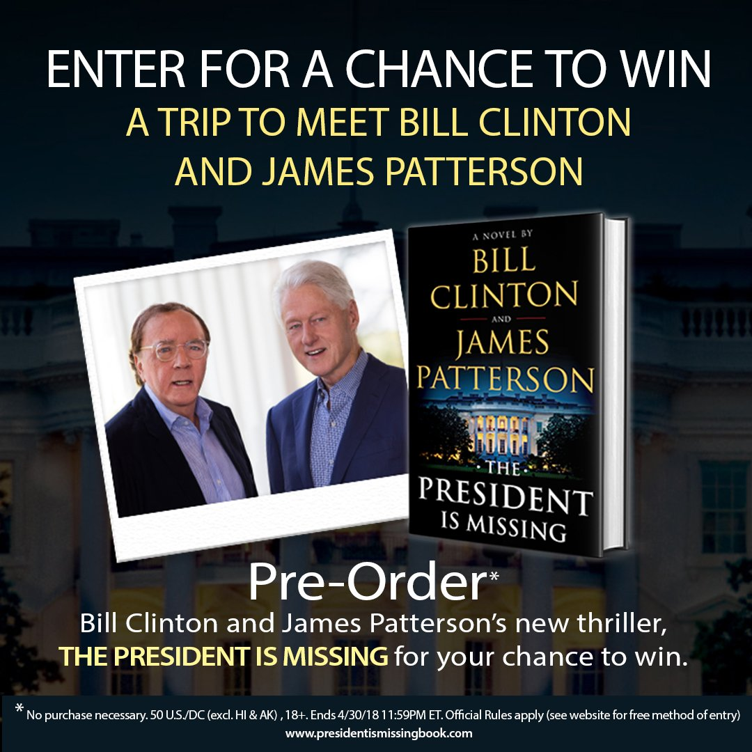Want to meet me and James Patterson (@JP_Books) in person? Here's a chance for you and a guest to join us at one of our tour events in June for our new book, The President is Missing. More info here: https://t.co/zDjRNX2h2n #ThePresidentIsMissing (Rules: https://t.co/eAG8zKG9fh)