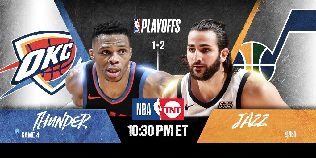 The @utahjazz seek commanding 3-1 lead, while the @okcthunder look to even the series 2-2....  🏀: #TakeNote x #ThunderUp Game 4 ⏰: 10:30pm/et 📺: @NBAonTNT