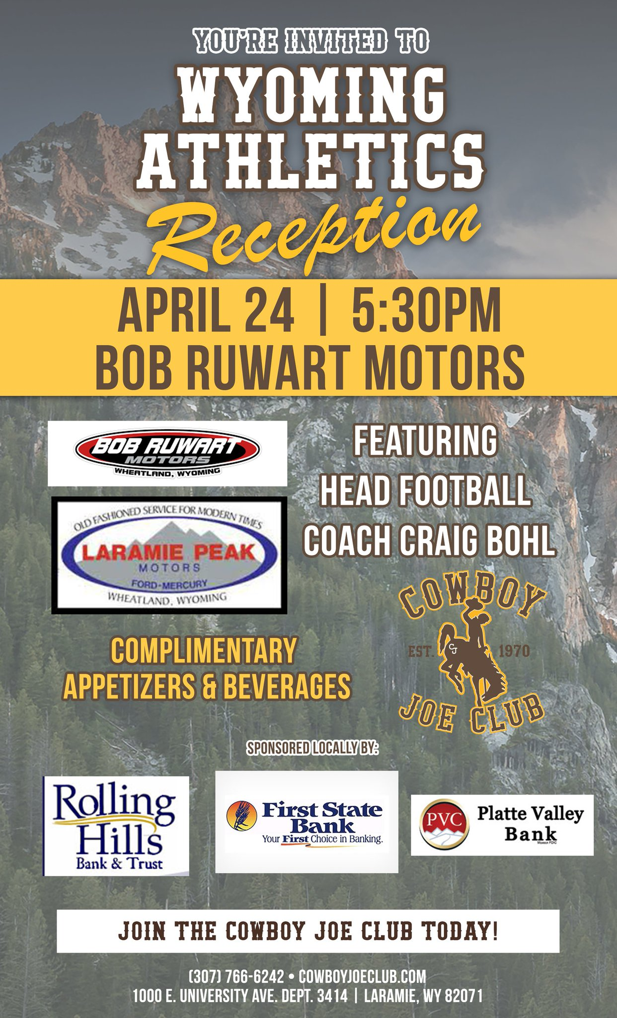"Cowboy Joe Club on Twitter: ""Wheatland WY: Join @CoachCBohl tomorrow night! #gowyo… """