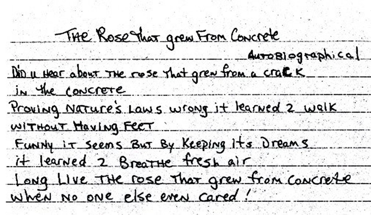 """2PAC on Twitter: """"The Rose That Grew From Concrete by Tupac Shakur.  #PoetryMonth #Tupac… """""""