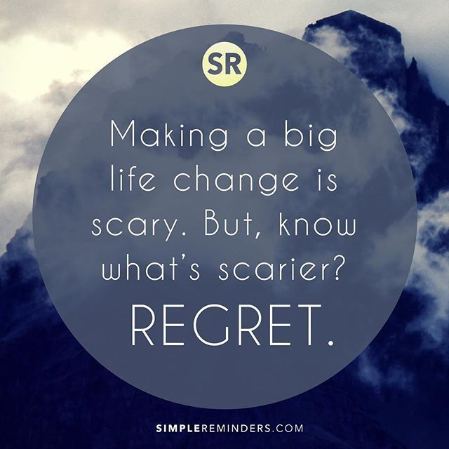 Making a big life change is scary. But, know what's scarier? Regret.⠀ ⠀ #SimpleReminders #quotes #selfhelp #life #inspiration #regret #change #fear<br>http://pic.twitter.com/AhZCyPhWa0