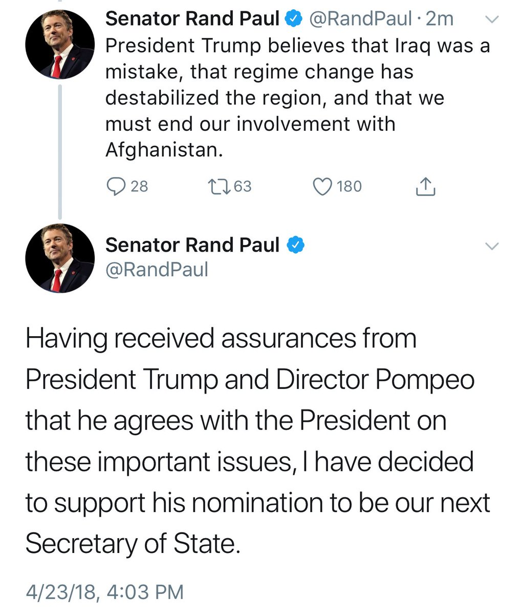 BREAKING NEWS: Sen. Rand Paul (R-Kentucky) says he will back Mike Pompeo as Secretary of State