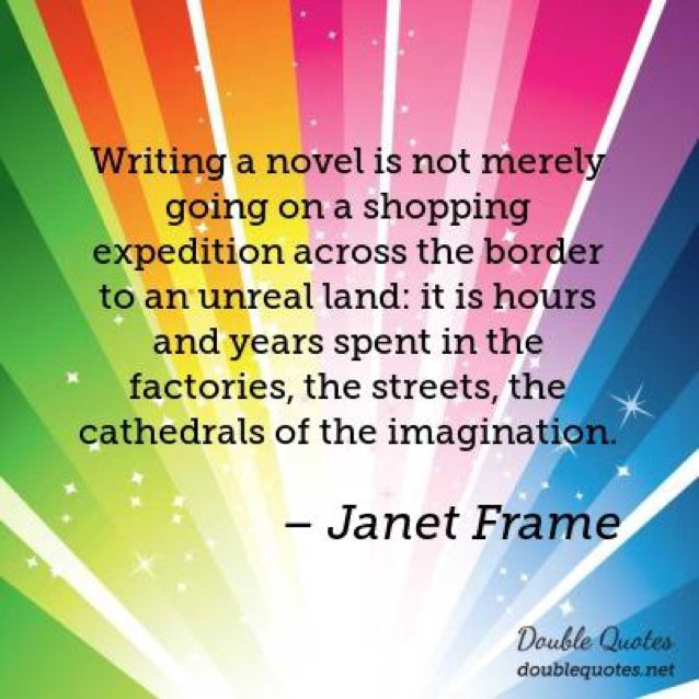 Writing a novel is...hours and years spent in...the cathedrals of the imagination. -Janet Frame #amwriting #writerslife<br>http://pic.twitter.com/AB6eamI0vE