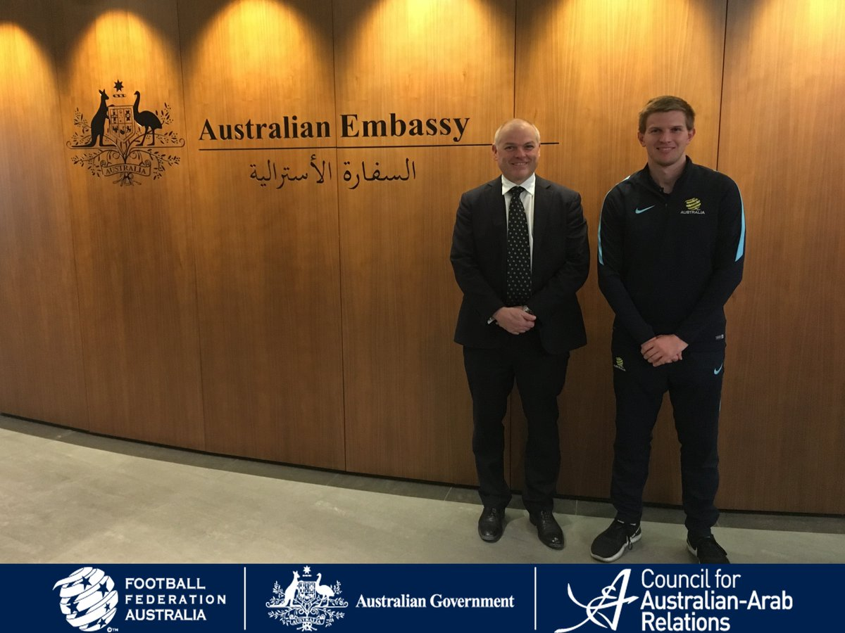 .@FFA meeting with @AusAmbQatar at one of Australia's newest Embassies abroad – the Australian Embassy in Doha, Qatar. @dfat #SportsDiplomacy #CAAR