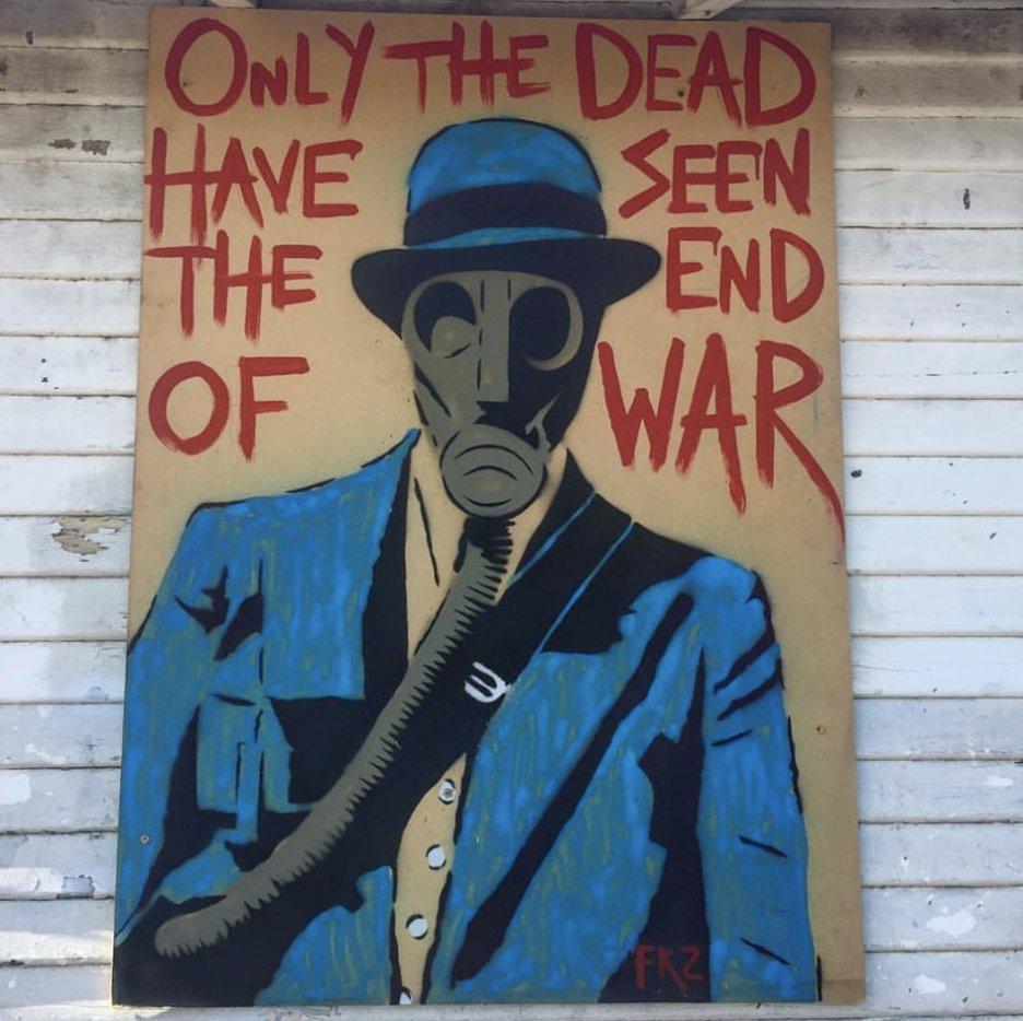 &quot;Only the Dead Have Seen the End of War&quot; by Fallen_Kingz #streetart #mural #graffiti #art<br>http://pic.twitter.com/4szKN8yDaM