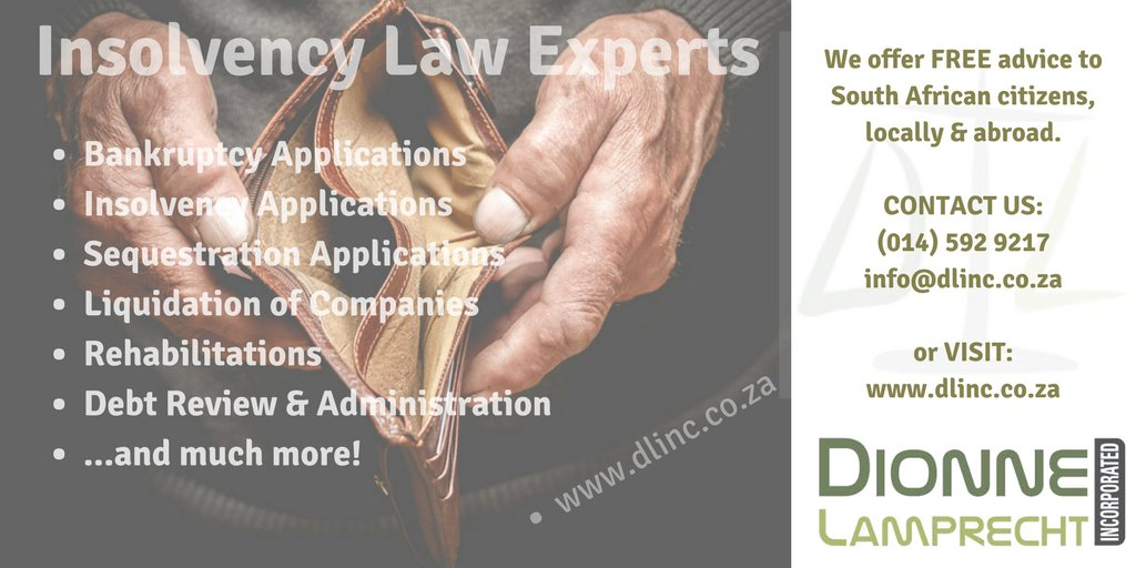 Contact us - 1st Consultation FREE of charge! E-mail to info@dlinc.co.za. #bankruptcy #insolvency #attorney #attorneys #lawyer #lawyers #southafrica #dionnelamprecht #dlinc #debtfree #rustenburg #rsa #debtsolution #debtsolutions #debthelp #northwest<br>http://pic.twitter.com/8HBUlJf14l