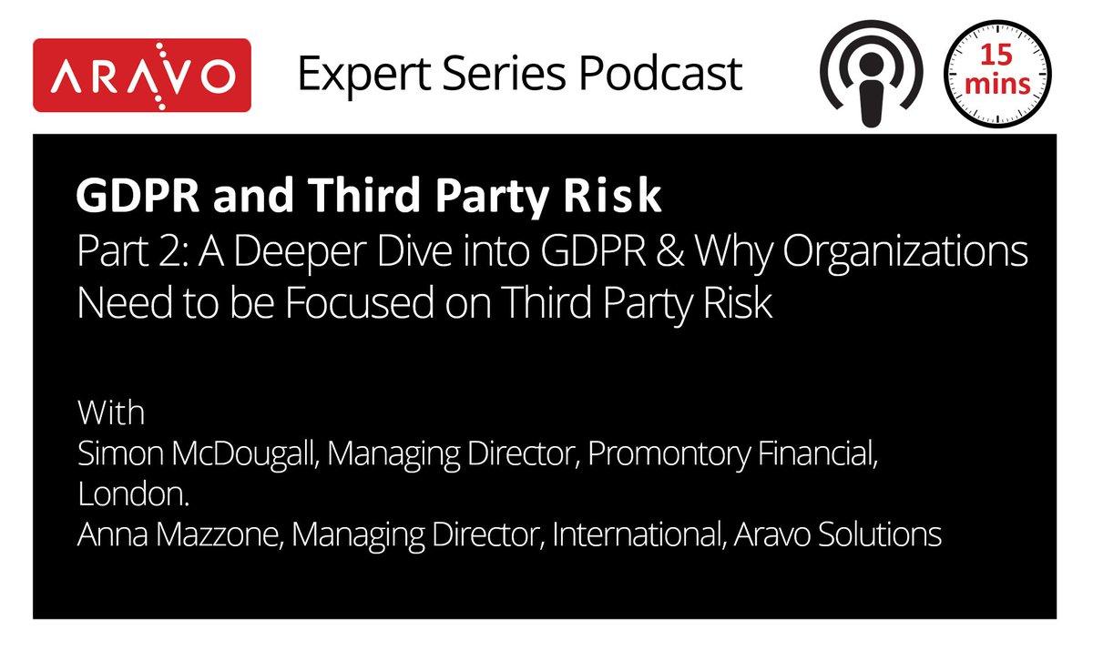 #Podcast- Part 2 #GDPR &amp; #ThirdPartyRisk  http:// bit.ly/2Hq2IgL  &nbsp;    . #databreach #bankingrisk #cybersecurity #bigdata #ciso #infosec #bigdata #cio #cso #tprm #finserv #finreg #vendorrisk #supplierrisk #cyber #cyberrisk #compliance #eugdpr #eudatap #oprisk #grc #financialservices <br>http://pic.twitter.com/bSI5Ir2F7E