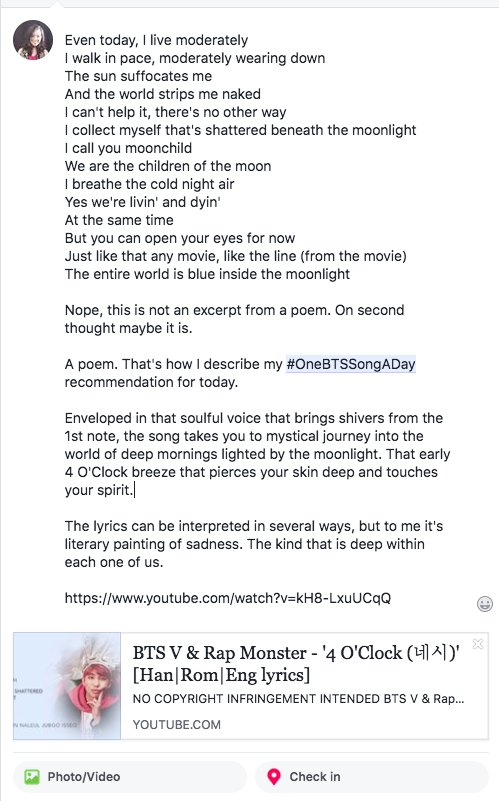 My #OneBTSSongADay on FB is 4 O&#39;Clock - poem and a painting. Coincidentally it&#39;s by RM [a poet] and V [a visual art enthusiast]. This illustrates how @BTS_twt is able to infuse their individual flavor in a song &amp; reflect who they are to the world. #BTSGuerillaMoves<br>http://pic.twitter.com/6RGTe2kYHG
