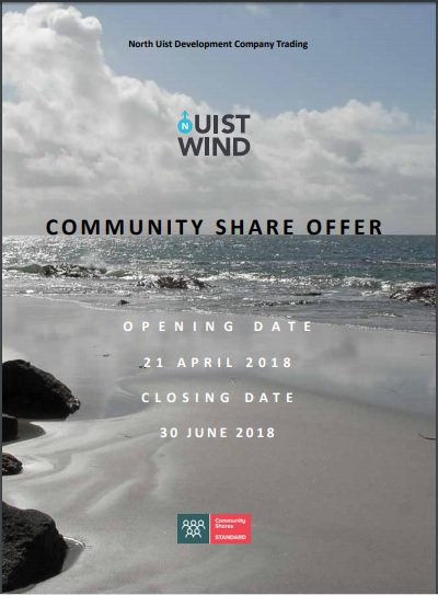 The #Uist #Wind #Community #Share Offer is now live. Potential 4% return. All profits from this #renewables development to be used on projects that that bring concrete benefits to this remote community in the Western Isles of Scotland.  http:// uistwind.com  &nbsp;  <br>http://pic.twitter.com/1p4lXUeS4X