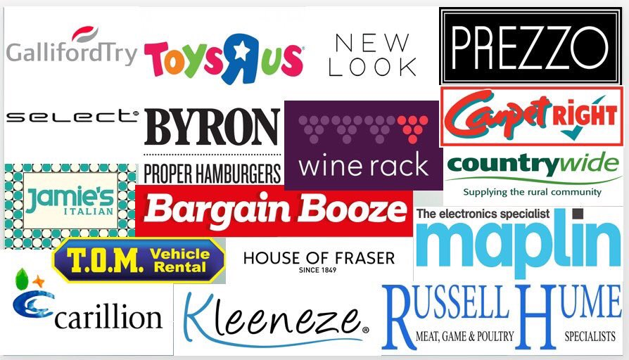 Like Toys R Us, House of Fraser and some other 2018 insolvencies (pictured) do you have onerous lease obligations? If so see this short video on Hindcastle v. Barbara Attenborough Associates [1997] AC 70:  https:// youtu.be/Z6Va9bDlqcQ  &nbsp;   #LAW373 #insolvency #onerousproperty #disclaimer<br>http://pic.twitter.com/ZWzMg8gzqH