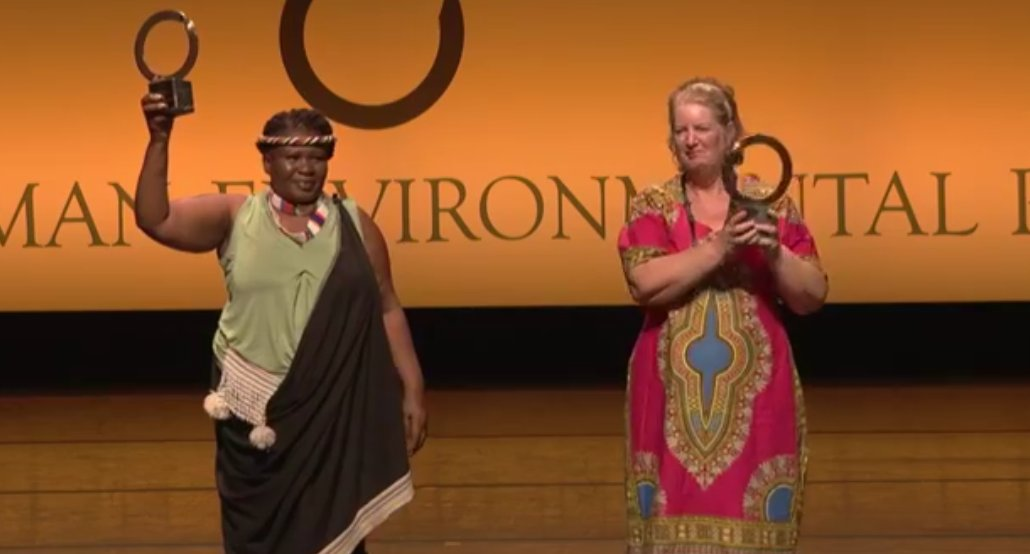 Makoma Lekalakala and Liz Mcdaid recieving their Goldman Environmental Prize awards.