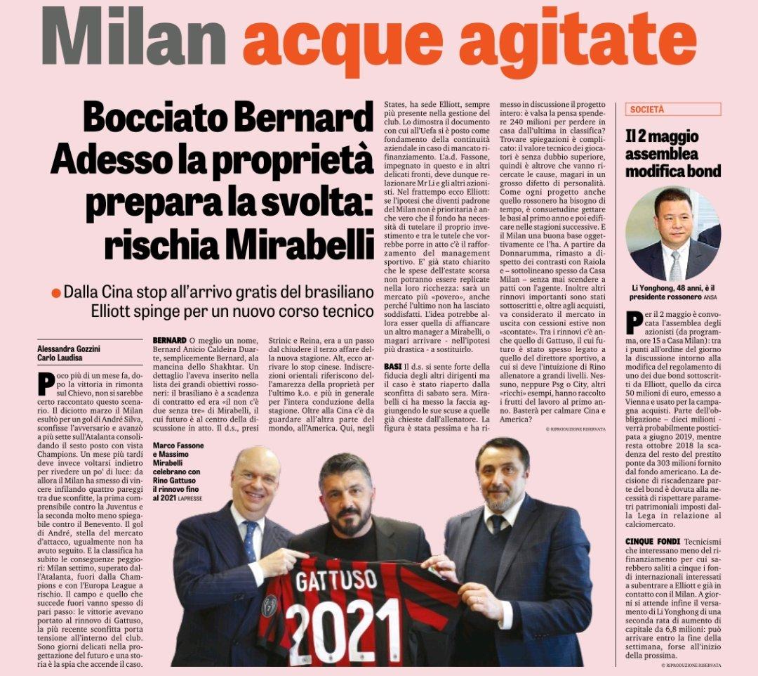 Na @Gazzetta_it desta terça: donos chineses vetaram a contratação de Bernard pelo Milan, e Mirabelli corre risco no cargo de diretor esportivo. Muitas questões sobre a relação entre os gastos e os resultados da temporada são feitas internamente