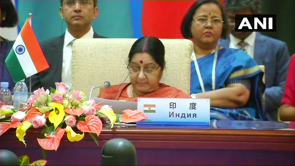 SCO is a major platform for convergence in our world views on sustainable development, clean and healthy living, multilateral trading system, Doha Development Agenda, disarmament & non-proliferation: EAM Sushma Swaraj at SCO Summit in .#Beijing