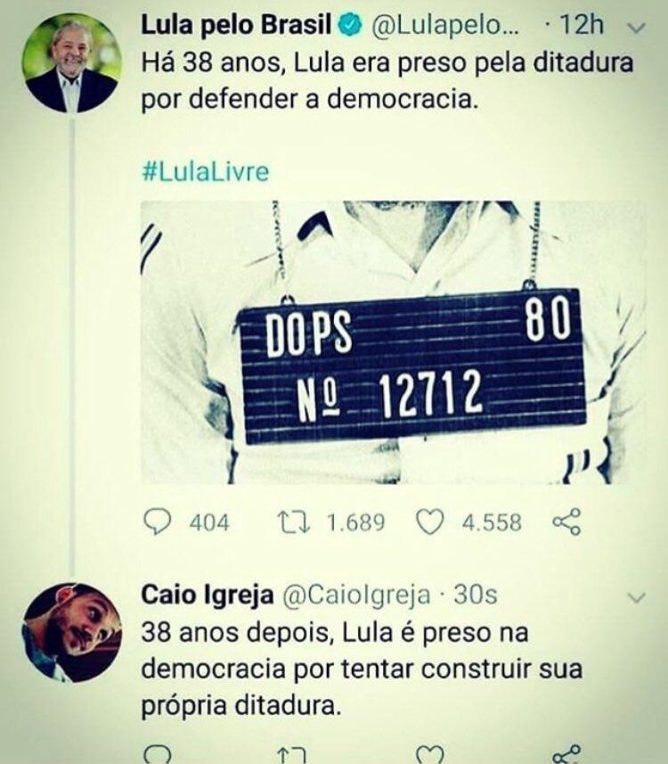 """Parte 1. Para isso eu pago Internet, 4G, Fibra... Parabéns @CaioIgreja.  E Lula, nunca houve ditadura, e você era X9! Estamos aguardando você voltar aos velhos hábitos de """"dedurar"""" todo mundo!"""