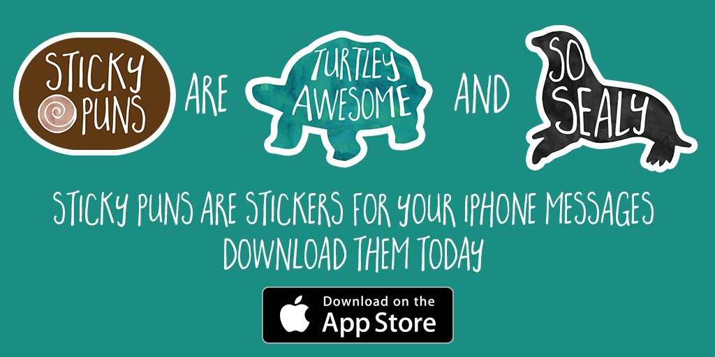 Sticky Puns for iMessage! Get them here:  https:// itunes.apple.com/us/app/sticky- puns-punny-stickers/id1229373030?mt=8 &nbsp; …  #iPhone #iPhoneX #Stickers #emojis #imessage #appstore #stickypuns<br>http://pic.twitter.com/2HSQwzNnOn