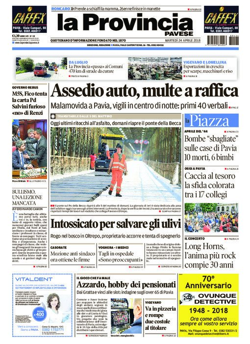 La #primapagina della provinciapavese og...