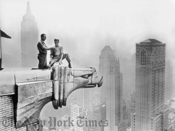 #History: workmen taking a break on a #ChryslerBuilding #gargoyle, 1940s https://t.co/9BmxX17yty via @nytimes