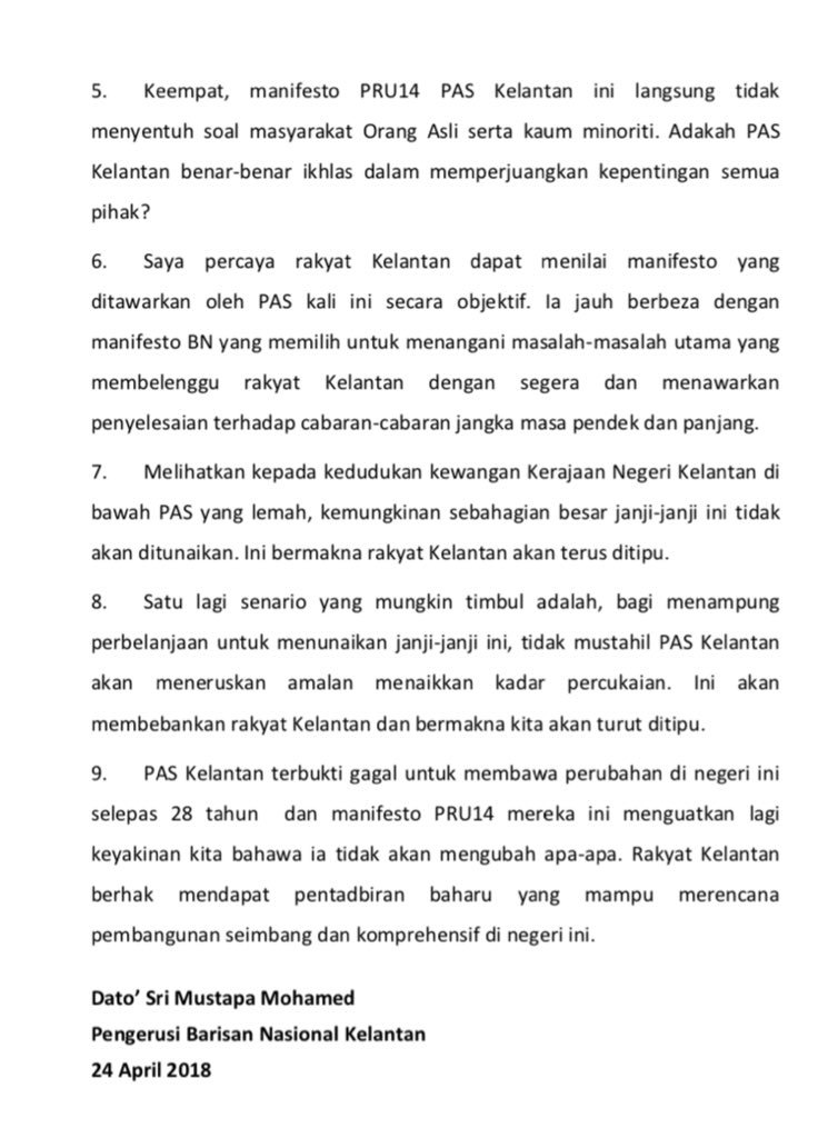 Thread by sumishacna breaking malaysias 14th general election despite talk of alliances elsewhere in kelantan pas and umno are still rivals barisan nasional chief mustapa mohamed says pass manifesto for kelantan thecheapjerseys Images
