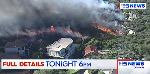 TONIGHT: Hazard burns in Sydney's Northern Beaches. Incredible images show just how close the flames were to Curl Curl houses. #9NewsAt6