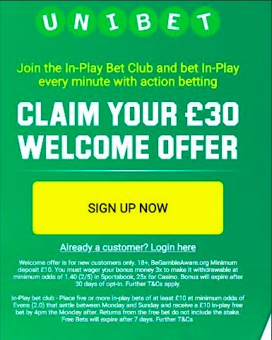Been backed with UniBet once again today!!£30 welcome offer when you join Unibet HERE 👇🏼 https://t.co/g0NUlwhzZuNew Customer Offer T&C's Apply 18+ https://t.co/D7nSLfzxjd