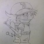 Image for the Tweet beginning: ドラえもん書いた。なんかドラえもんの野球マンガがあるらしい。