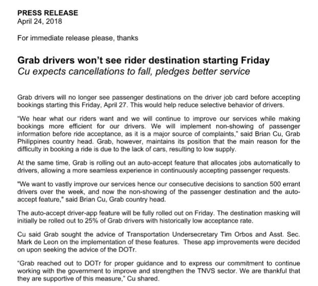 Starting Friday, April 27, @grabph drivers will no longer see passenger destinations before accepting bookings. | via @chriseedelapaz