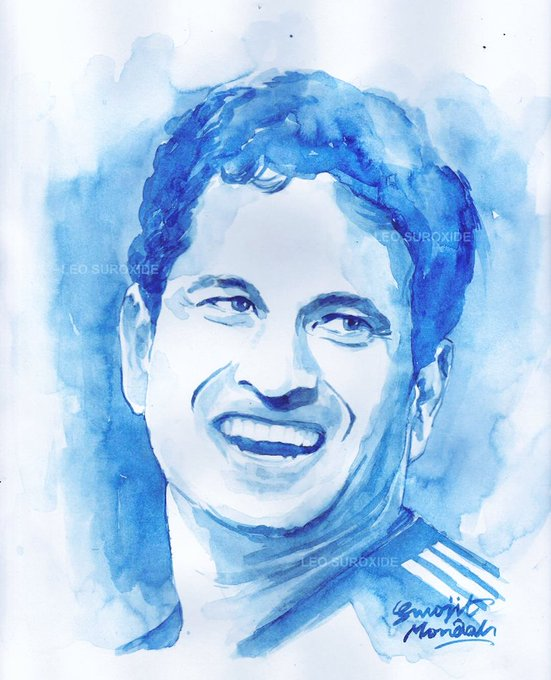 Happy birthday Watercolor portrait of Sachin Tendulkar  Leochrome blue art work by Surojit Mondal.