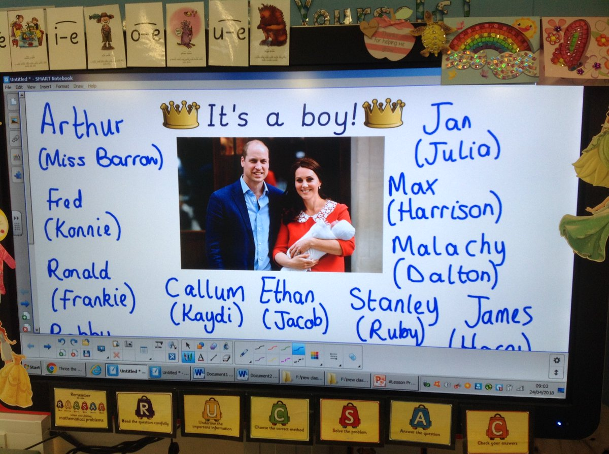 What a lovely morning activity in Year 1! We have talked about the new prince being born yesterday and we have guessed his name. I wonder what he will be called?