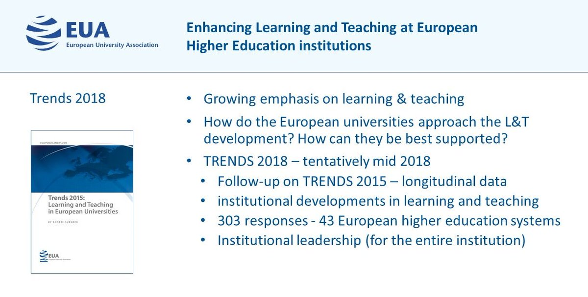 How do European #universities approach #learning and #teaching developments? How can they be best supported? #Trends2018 report results preview:  http:// bit.ly/2qVdPDu  &nbsp;  <br>http://pic.twitter.com/sxSa2hFPKP
