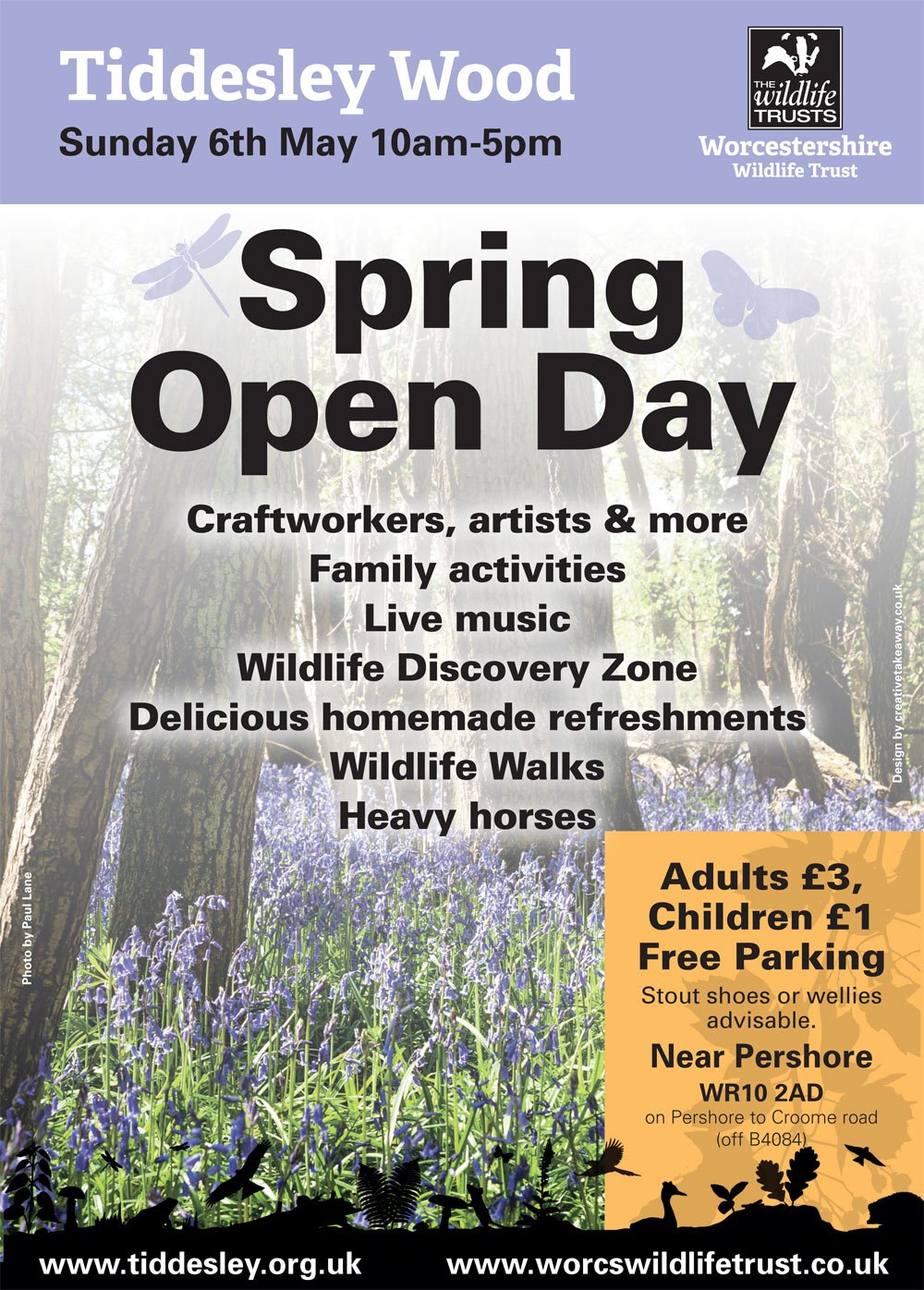 Tiddesley Wood Open Day poster - Sun 6th May